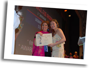 Director of 'Cross Road' Alexandra Thompson receives AFA award from actress Camilla Rutherford