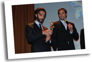Carlos Leon Best Supporting actor in 'Tricks of a Woman' on stage with Scott Elrod.