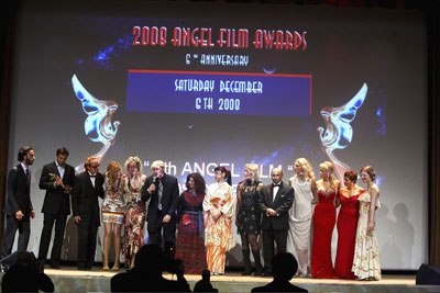 AFA Winners & Jury on stage from left AFA award winning actor Carlos Leon, actor Scott Elrod, Dean Bentley AFA Executive Producer, AFA award winning actress Elika Portnoy, Rosana Golden AFA Executive Director, Todd Norwood Director Tricks Of A Woman, Jury members journalist Reem Azmy, actress Keiko Kobayashi, Silvia Kratzer, T.N. Mohan, actress Elmira Metreveli, Miss Great Britain Gemma Garrett, President of Jury Camilla Rutherford.